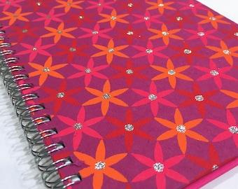 Ruled Journal - Pink & Orange Flowers