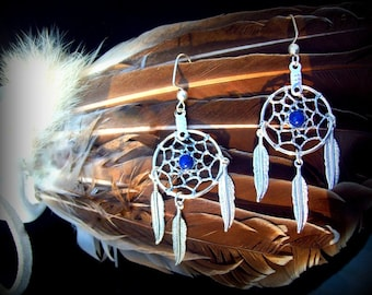 LAPIS Dreamcatcher earrings, silver dream catcher earrings, boho, tribal, Native American made, boho dreamcatcher, Lapis silver jeewelry