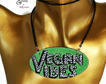 Vegan Vibes Bib Necklace, Jewelry for Festivals, Fun Food Polka Dot Plate Bib Necklace, Statement Hip Hop Jewelry Gifts, Gifts for Vegans