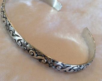 Silver Cuff, Patterned Silver Cuff, Patterned Sterling Silver Cuff, Silver Bracelet, Ladies Cuff