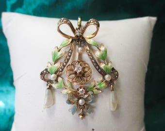 ONE 10K Y/G Enameled Vintage Victorian Floral Pendant, Diamond & Pearl, Dangle Design