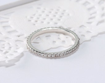 Round Cubic Zirconia Sterling Silver Ring Jewelry R04