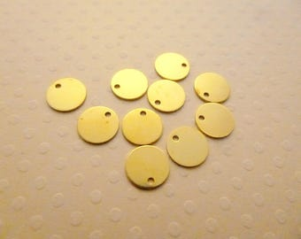 Set of 10 charms round Golden tag 8mm - BD-1620