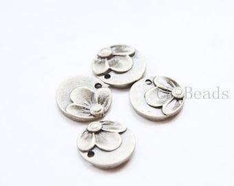 10pcs Antique Brass Tone Base Metal Flower Tags-Round 15mm (6401Y-C-303)