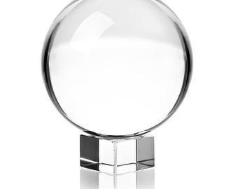 """3"""" Clear Crystal Ball with Crystal Base 80mm Divination, Clairvoyance, Scrying, Boho Decor"""