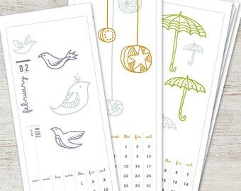 ILLUSTRATED Printable Desk Calendar 2018 2019 Digital Instant Download Digital DIY Illustration Monthly Yearly Planner Wall Art Decor
