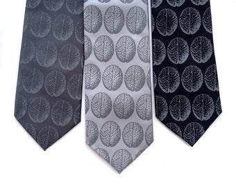 Anatomical Brain Necktie. Brain Dot Print, brains men's tie. Gift for neurologist, gift for psychologist, psychiatrist, neuroscientist gift