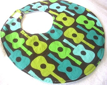 Groovy Guitars in Teal - Boutique Bib - Modern Baby Accessories, Rocker, Hipster