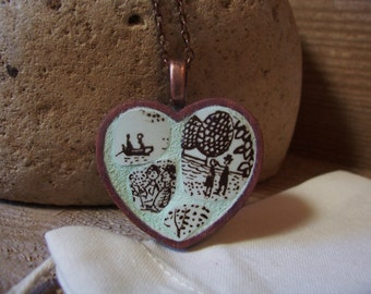 Mint At The Lake - Fine China Mini Mosaic Art Pendant - heart necklace - OOAK heirloom keepsake