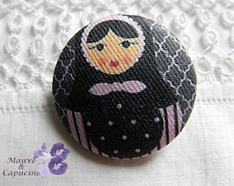 Button out of fabric, matryoshka, 0.94 in / 24 mm