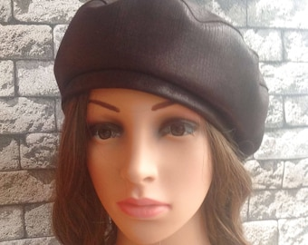 Brown Leather Woman Beret Fashion Style Beret Size 55-59