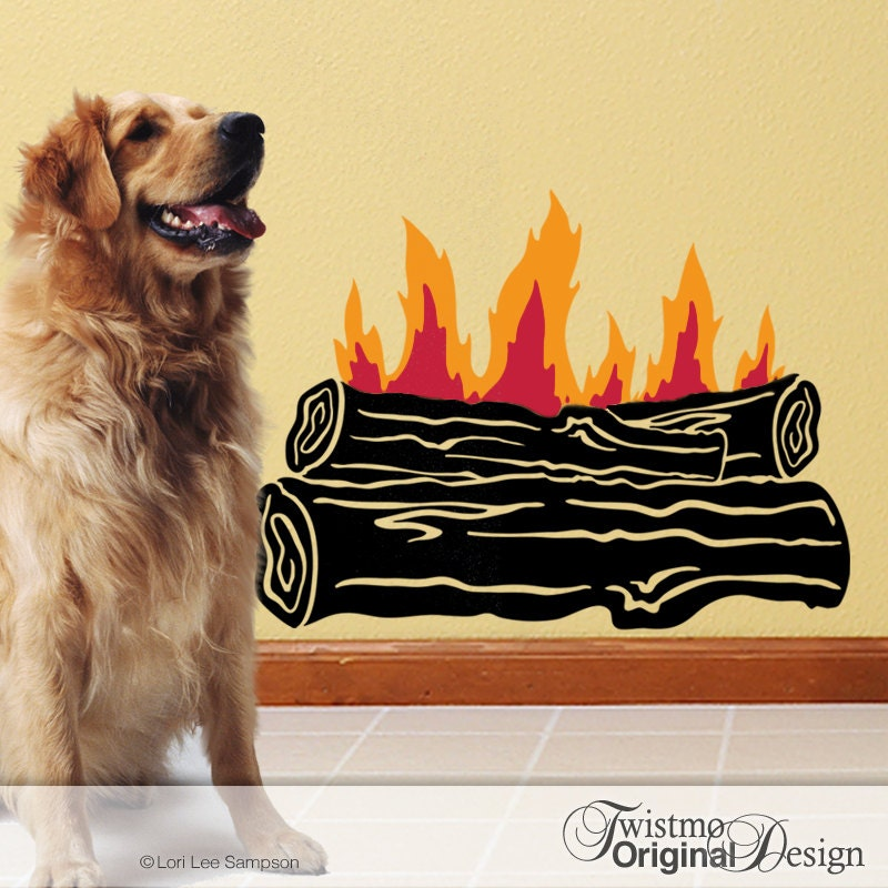 Campfire Wall Decal: Outdoor Log Fire for Camping Decor or