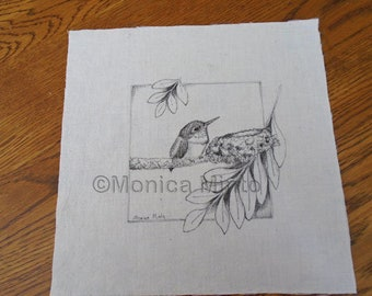 Pen & Ink on Fabric Original Drawing Quilt Square by Monica Minto hummingbird fledgling