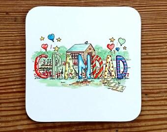 Grandad Art Coaster Fathers day Grandads garden Drinks mat Dad Coaster Birthday Present grandpa Gift