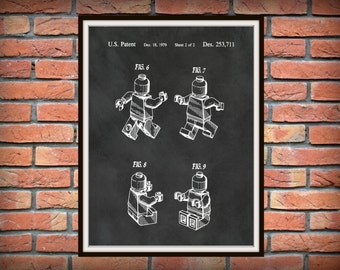 Patent 1979 Lego Mini Figure Man by G.K Christiansen - Wall Art Print -Game Patent -Toy Figure - Game Room Wall Art