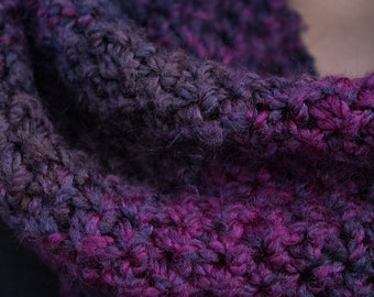 Variegated Purple Long Knit Infinity Scarf