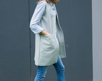 Women's wool vest, Grey wool vest, Long vest, Vest with pockets, Casual vest, Comfortable vest, Winter vest