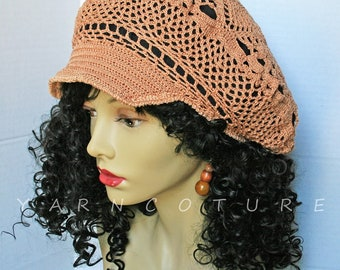 Copper Brown Brimmed Crocheted Lace Hat / Stretch Satin Lined