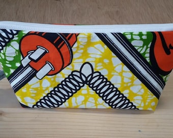 make up bag, pouch for makeup, wax fabric, yellow, green, orange