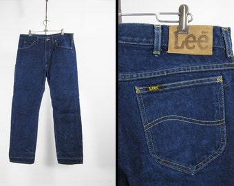 Vintage Lee Denim Jeans Dark Wash Indigo Riders Straight Leg Made in USA - 36 x 31