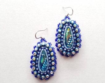 Small Beaded Blue Drop Earrings