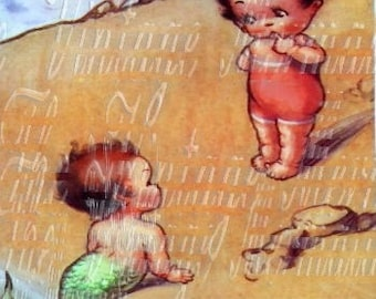 Vintage Postcard Baby Mermaid Fabric Quilting Crafting Block Merboy Nursery Cotton Panel BM123