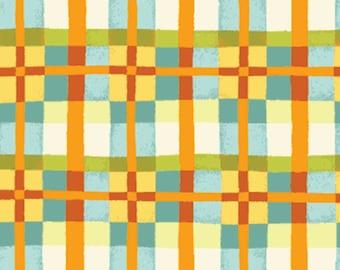 One Yard Mischief  - Happy Plaid in Aqua - Little Boy Fabric Line Designed by Nancy Halvorsen for Benartex (w892)