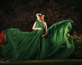 Caroline Basil Green Infinity  Chiffon Full Circle Maternity Gown with long train, photo prop
