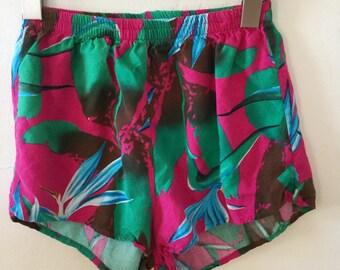 Vintage 80s / Girls / Hot Pink / Hawaiian / Birds of Paradise / Shorts / Size Medium
