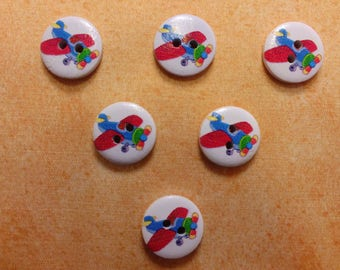 SET of 6 wood buttons: Circle pattern 15mm (01) plane transportation theme