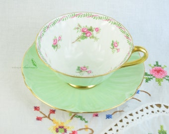 Shelley oleander tea cup, pastel green Shelley cup and saucer