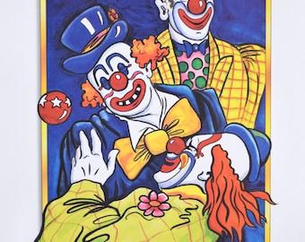 "Vintage 1980s Graphic Arts Show Poster  ""Great Performances"" Colorful Clowns  15"" x  24.75"""