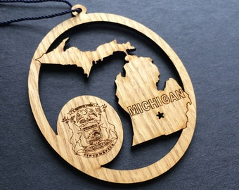 Michigan Ornament, Michigan State Ornament, Michigan Decor, Michigan Gift, Gifts for Traveler, Laser Engraved Ornament