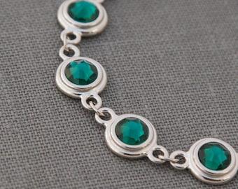Emerald Bracelet, May Birthstone Bracelet, Emerald Jewelry, Silver, May Birthstone Jewelry, Emerald Green Crystal Bracelet