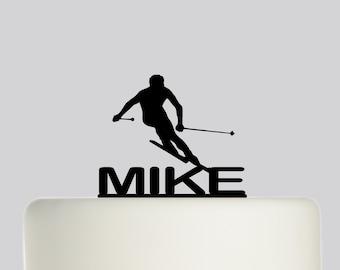 Birthday Cake Topper - Man Skiing Ski NAME Cake Topper - Custom Cake Topper - Happy Birthday - Personalised with your Name.580