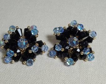 SALE Blue Crystal Black Gold Beaded Cluster Clip On Vintage Statement Earrings