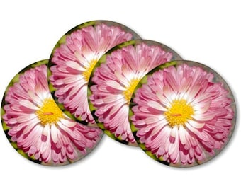 Pink Daisy Flower Coasters - Set of 4