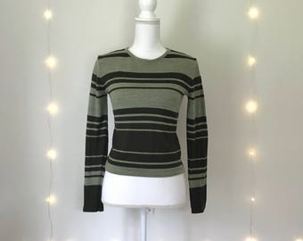 90s olive STRIPED SWEATER / Esprit / crop / green forest olive sage / grunge / size extra small / small