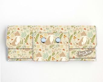 Vinyl Long Wallet - Forest Fox 2 / woodland, vegan, large wallet, clutch, card case, vinyl wallet, handmade, foxes, woodland animals, cute