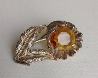 Sphinx Goldtone Vintage Flower Brooch - Orange Stone -  Gifts for her - Mothers Day