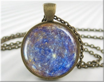Planet Mercury Pendant, Blue Mercury Picture Pendant, Resin Jewelry, Blue Accessory, Round Bronze, Space Gift 683RB