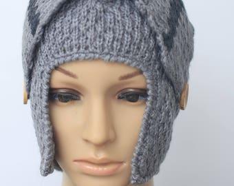 Handmade Alpaca hat , Chullo , hat , Ear Flap hat ,Beanie made in Peru  Winter Hat