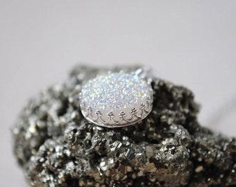 White Druzy Necklace, Sterling Silver Druzy Necklace, White Druzy Jewelry