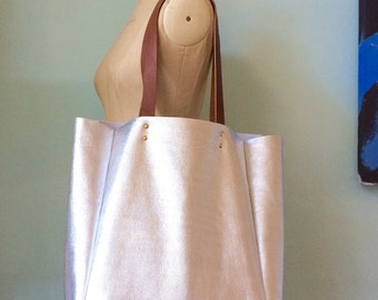 Leather tote bag, oversized silver leather bag, simple large leather tote by Ginger and Brown