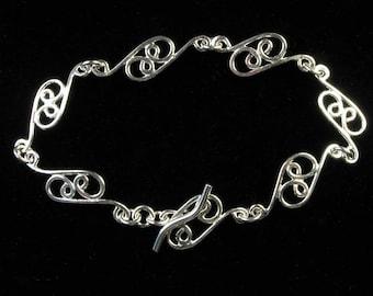 Delicate Scrolls Sterling Silver Bracelet, Hand Made Links, Soldered Bracelet