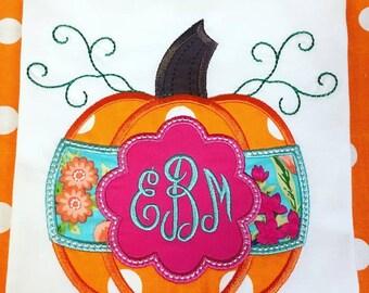 Girly Pumpkin Applique tshirt or onesie
