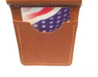 Leather Money Clip with Spring Clip