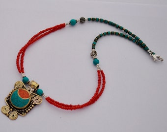 DIY Necklace Kit - Afghani Turquoise Lapis Beads Handmade Focal Pendant with Brass Findings M03