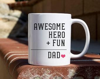 Awesome hero-dad Coffee Mug, funny mug, gift for him, Novelty Mug, Best gift , Unique Mug, coffee mug gift