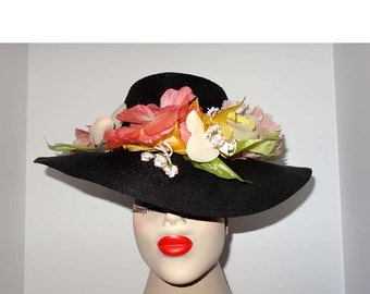 Black Straw Hat with Faux Flowers Apparel and Accessories Clothing Hats Vintage Hats